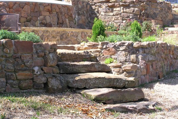 Stone work steps and retaining wall
